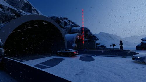 Vehicles Passing Through Tunnel in Snowy Weather