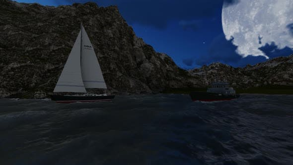 Thumbnail for Sailboats dock at night between the mountains