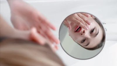 Skin Moisturizing Facial Care Woman Applying Cream
