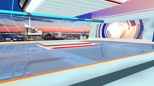 Virtual News Studio Set Background 1