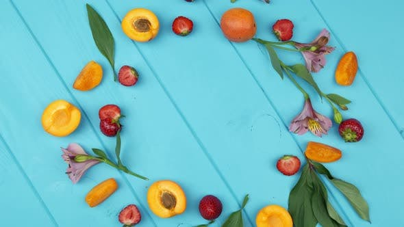 Fruits on Blue Wooden Table