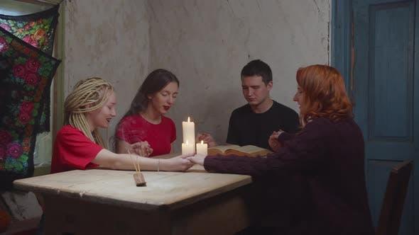Mystic People Invoking Wandering Spirit Indoors