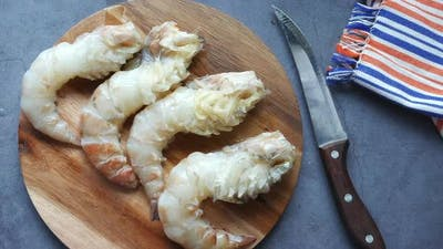Top View of King Prawn on Plate on Table