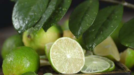 Juicy Lime with Leaves Rotates Slowly