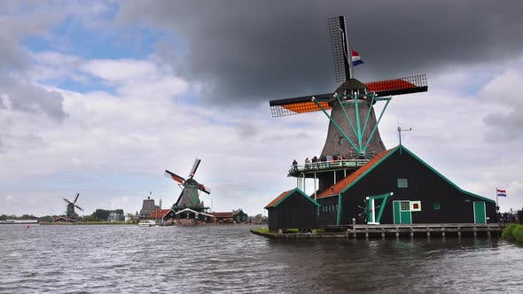 Thumbnail for Zaanse Schans The Netherlands Sails Rotate on the Windmills at the Zaanse Schans at a Rate of Knots