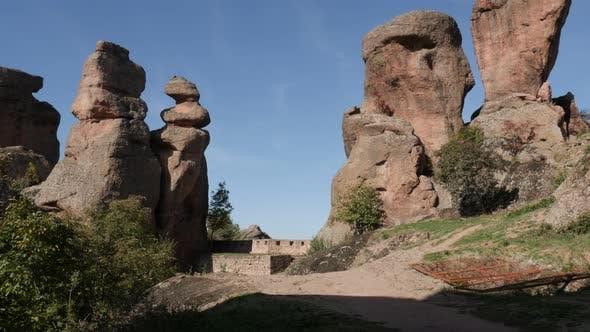 Group of rocks near town of Belogradchik   4K 2160p 30fps UltraHD footage - Tilting over sandstone a
