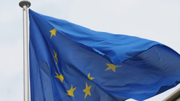 Thumbnail for Beautiful EU Banner Fluttering Solemnly in Brussels As a Sign of Freedom in Slo-mo