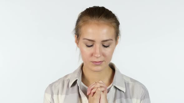 Thumbnail for Asking for Forgiveness, Portrait of Praying Girl, White Background