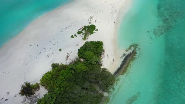 Thumbnail for Daytime fly over clean view of a sandy white paradise beach and aqua blue water background