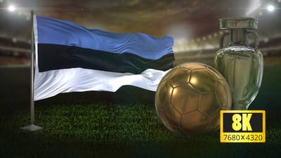 8K Estonia Flag with Football And Cup Background Loop