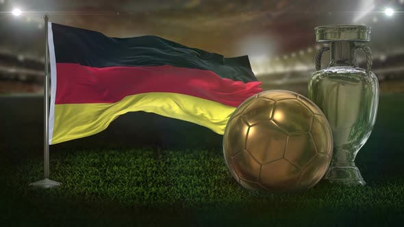 Germany Flag With Football And Cup Background Loop