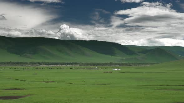 Mongolian Ger Tents in Plains of Mongolia Geography