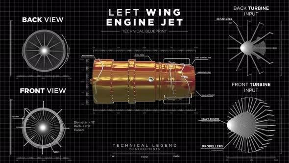 Display HUD of Left Wing Jet Engine with Blueprints on Black Wireframe Background