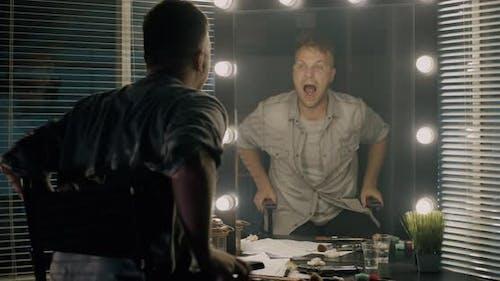 Actor Preparing in Dressing Room
