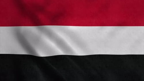 Flag of the Yemen Waving in Wind