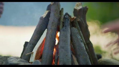 Close up of a campfire
