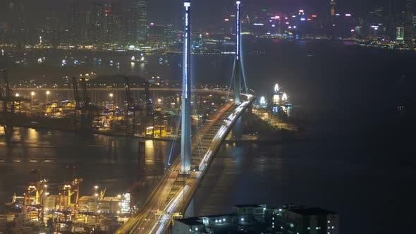 Thumbnail for Hong Kong Night Bridge Traffic Urban Panorama Time Lapse China. Zoom Out