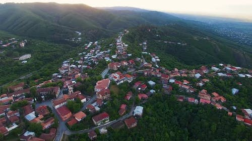 Ecotourism in Georgia, fascinating aerial view of beautiful Sighnaghi town