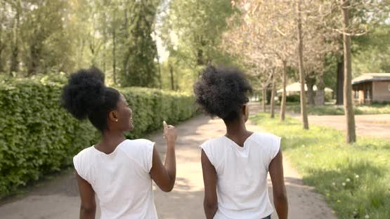 African American Twins Pointing at Places in the Park