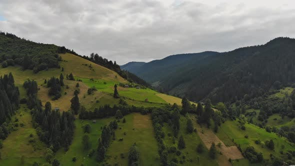 Aerial View of Carpathian Mountains Countryside