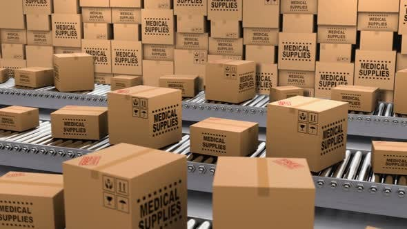 Thumbnail for Cardboard Boxes with Medical Supplies and Donations on the Conveyor Belt