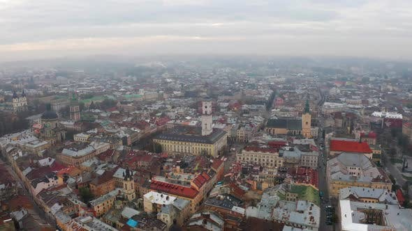 Thumbnail for Flight Above the Roofs on Sunrise. Old European City. Ukraine Lviv City