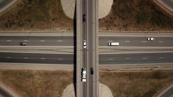 Cover Image for Aerial View of Transport Junction, Traffic Cross Road Junction Day