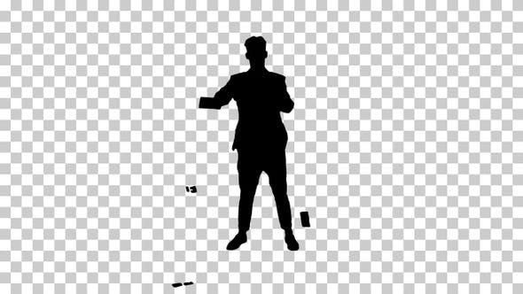 Thumbnail for Silhouette businessman dancing, Alpha Channel
