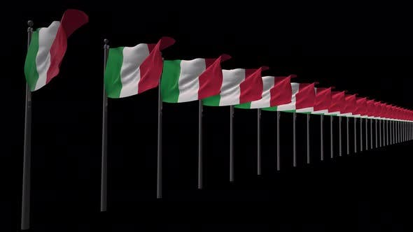 Row Of Italy Flags With Alpha 4K