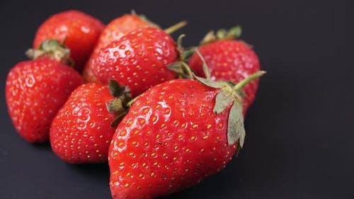 Slow Rotation Juicy Strawberries