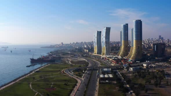 Thumbnail for Skyscrapers Sea And Coast Aerial View