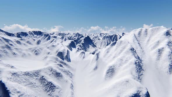 Blue Snow Mountain in Beautiful Style Winter Landscape Nature Cloud Sky Background