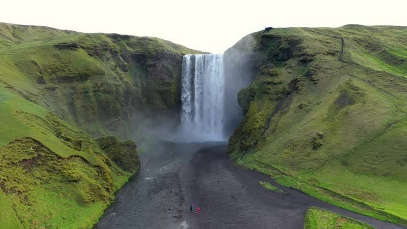 Thumbnail for Flying Above Skogafoss Waterfall in Iceland
