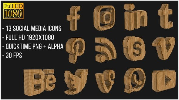 Thumbnail for Social Media Wooden Icons
