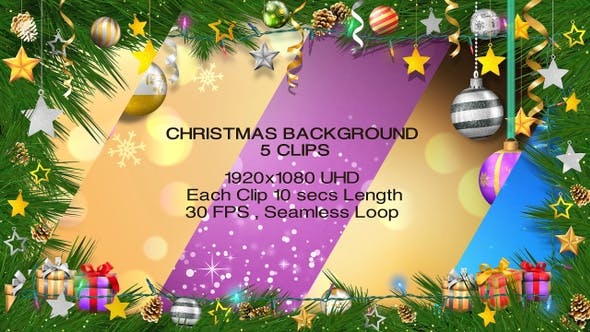 Christmas Backgrounds - 5 Clips - HD