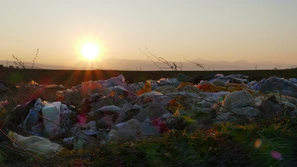 Thumbnail for Sunset Over Scattered Garbage In Nature