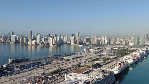 Port of Miami and Miami Downtown seen from above, USA