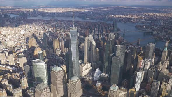 Thumbnail for Skyline of Lower Manhattan with One World Trade Center in Sunny Day