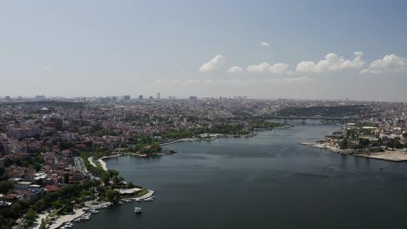 Thumbnail for Istanbul Bosphorus And Golden Horn Bridge Aerial View 5