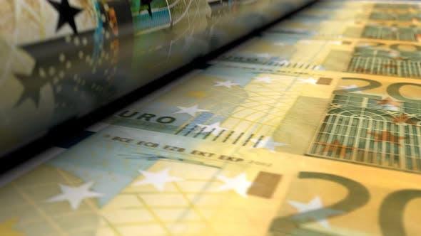 Thumbnail for Close-up of Euro Money Press Machine Printing 200 EUR Banknotes