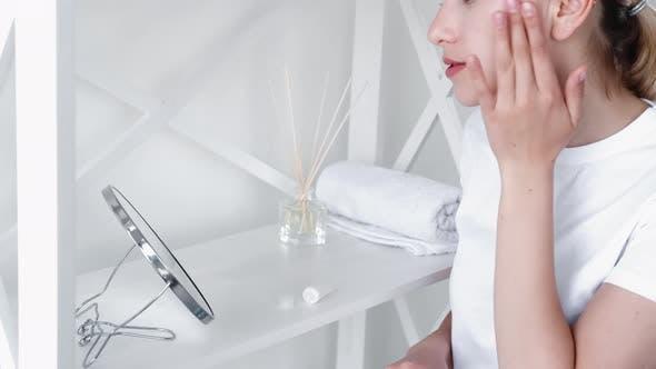 Facial Treatment Skin Care Relaxed Girl Face Cream