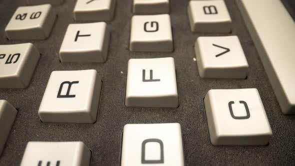 Macro Video of Vintage Computer Keyboard