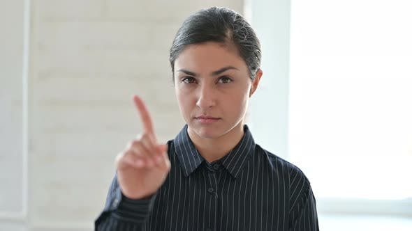 Thumbnail for Young Indian Woman Showing No Sign By Finger
