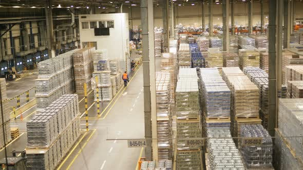 Thumbnail for Finished Goods Warehouse with Stacks of Packaged Beer Tins