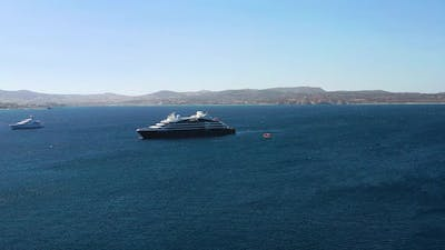 Aerial view at the cruise ship at the day time. Adventure and travel.