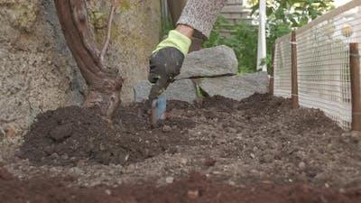 Hoeing Ground Soil