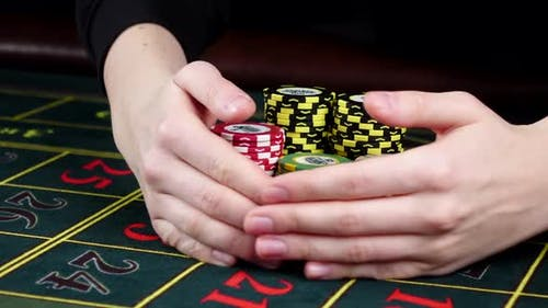 One Person Playing Roulette and Wins at Casino, on Black