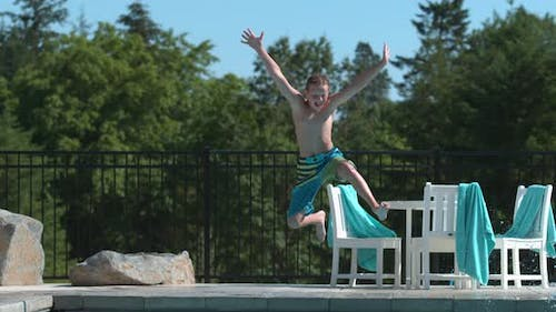 Jumping into pool in super slow motion