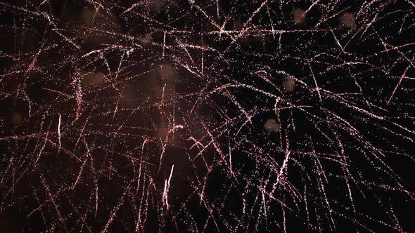 Thumbnail for Fireworks Flashing in the Night Sky. Slow Motion in 180 Fps. Real Fireworks with Smoke