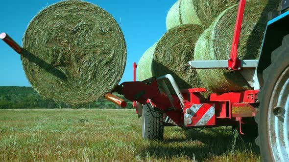 Thumbnail for Folding Stacks of Hay in a Truck with Special Equipment. Work in the Field with the Help of Special